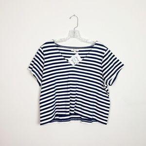 Madewell | striped v neck boxy cropped tee medium